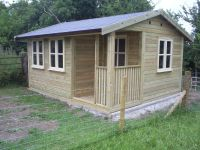 14 x 12 Artist Den with cream garden office doors and windows