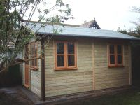 8 x 12 Office building with garden office door and windows. Customer lined & insulated after we assembled on site.